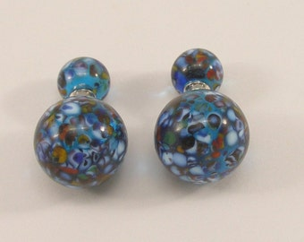 Murano glass double beads earrings, two sided earrings, glass jewelry, surgical steel