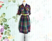 Vintage Lesley Fay Check Shirt Dress.  Vintage Dress. Size Small