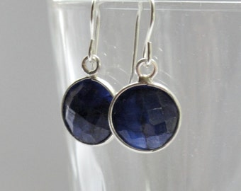 Sterling silver sapphire earrings, Sapphire earrings, Stone earrings, September birthstone jewelry, Anniversary gift