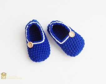 Crochet Sock / Kid's Slippers. Comfortable Shoes. Blue baby booties. Slippers.