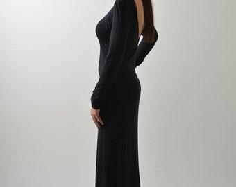 Goth Dress, Black Gown Dress, Backless Dress, Open Back Dress, Long Fitted Dress, Sweater Dress, Elegant Dress, Floor Dress, Boat Neck Dress
