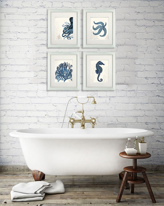 Nautical Bathroom Wall Art Set Of 4 Blue Nautical Art Prints
