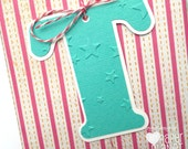 Turquoise Letter Initial gift tags. Gift wrapping monograms. Embossed  stars, snowflakes, dots or chevrons. Christmas gifts, birthdays. Aqua