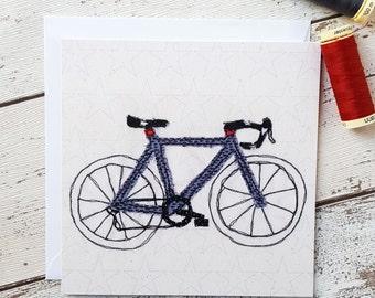Racing Bike Printed Square Greetings Card