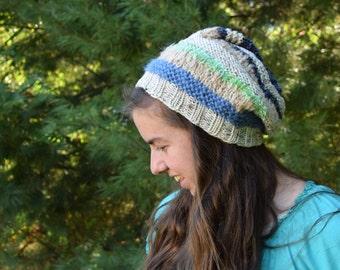 Blue and Cream Boho Beanie || Handknit Striped Hat