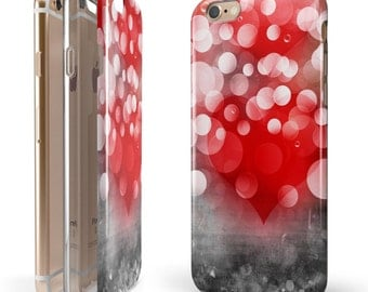 Bright Unfocused White & Red Love Dots -  iNK-Fuzed Hybrid Two-Piece iPhone Case