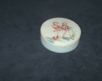 Hand-Painted Flamingo Powder / Trinket box