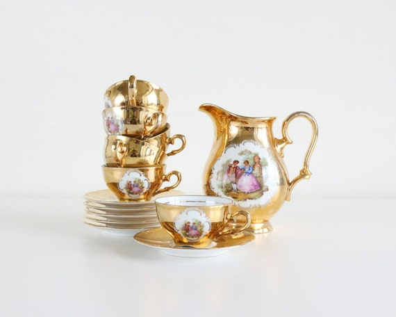 Rare Antique Victorian Gold Tea Set