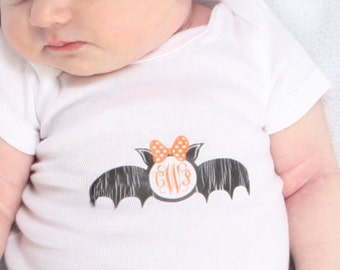Halloween girls bat monogram onesie
