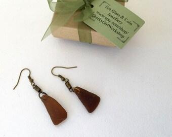 Brown sea glass earrings, brass handmade jewelry, eco beach glass, recycled jewelry, beer bottle glass, modern design, simple, mermaid