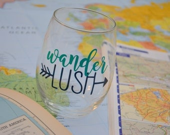 Wanderlush stemless wine glass traveler gift - 21oz