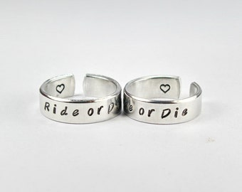 Ride or Die Cuff Ring Set, Friendship Match Rings, Best Friend BFF Hand Stamped Aluminum Ring, Besties Friend Forever Jewelry 8-1