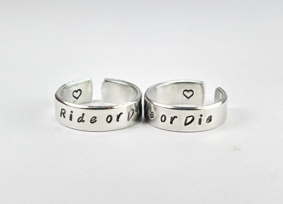 Ride or die cuff ring set friendship match rings best friend for Ride or die jewelry