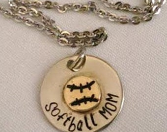 Hand Stamped Softball Mom Baseball Mom Nickel Silver Copper Necklace