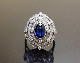 Art Deco Platinum Halo Sapphire Diamond Engagement Ring - Platinum Sapphire Art Deco Diamond Wedding Ring - Halo Diamond Platinum Ring
