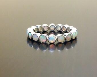 Opal Eternity Band - Eternity Opal Engagement Band - Sterling Silver Opal Wedding Band - Silver Opal Band - Art Deco Opal Band - Opal Ring