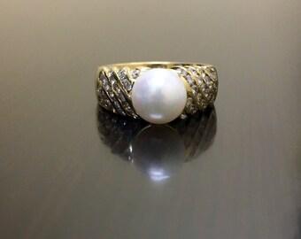 14K Yellow Gold Art Deco Pearl Diamond Engagement Ring - Art Deco 14K Gold Halo Diamond Pearl Wedding Ring - Pearl Diamond Ring - Pearl Ring