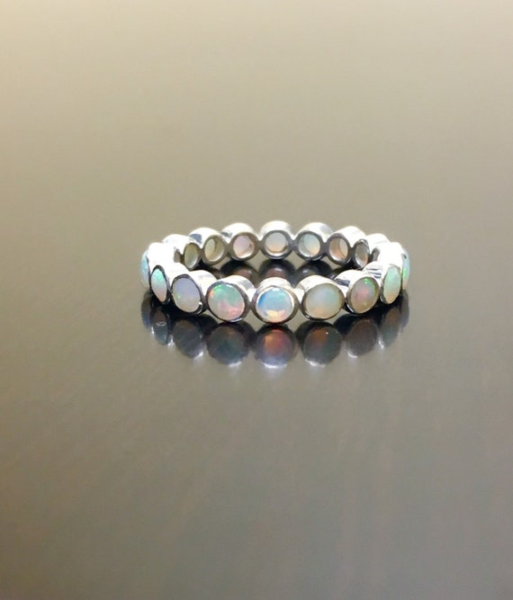 Opal Eternity Band Eternity Opal Engagement Band Sterling