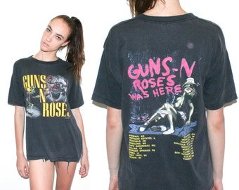 "Vintage 80s Guns N Roses Appetite For Destruction Tour T Shirt 1987 ""Guns N Roses Was Here"""