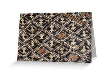 African Art Greeting Card 4x6 or 5x7.5 - Blank Inside / Kuba Raffia Cloth / Orig Fine Art Photography