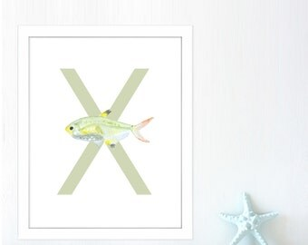 Xray Tetra Fish, Letter Wall Art, ABC Nursery, Letter X, Nursery ABC Decor