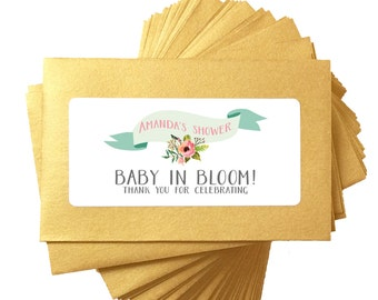Flower seed favor, gold baby shower seed favors - floral wild poppy seed baby shower favors for - baby in bloom