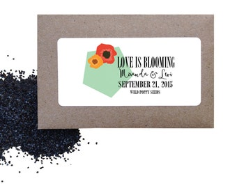 Flower wedding seed favors - Wild Poppies seed favors for wedding or shower - love is blooming