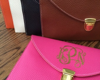 SALE***Envelope Clutch with Classic Gold Monogram (other monogram colors available) - Get the stamped leather look for less!