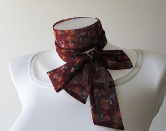 Brown Skinny Scarf, Flower Scarf, Long Thin Scarf with Angled Ends, Floral Chiffon Scarf, Neck Tie, Headband, Spring Summer Fashion, For Her