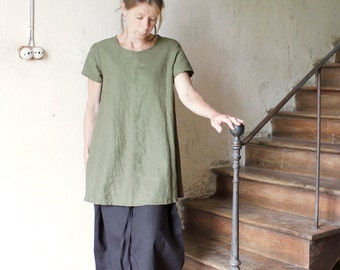 NEW Linen Tunic, Short Dress,  Made to order in your size and color