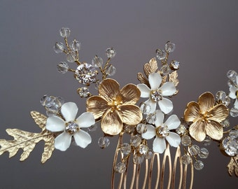 Bridal hair comb Wedding hair comb Bridal Headpiece Enamel  bridal hair comb Bridal Hair Accessory Delicate hair comb Enamel comb Veil comb
