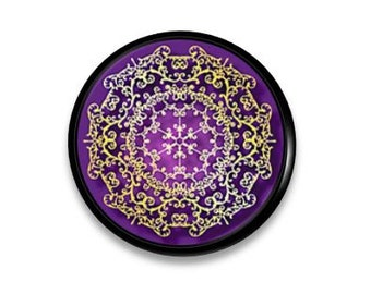 Purple and Gold Knob - Bohemian Decor, Lace Design - Girls Room, BoHo, Unique, Home Decor, Dresser Drawer Pull, Cabinet - 815R31