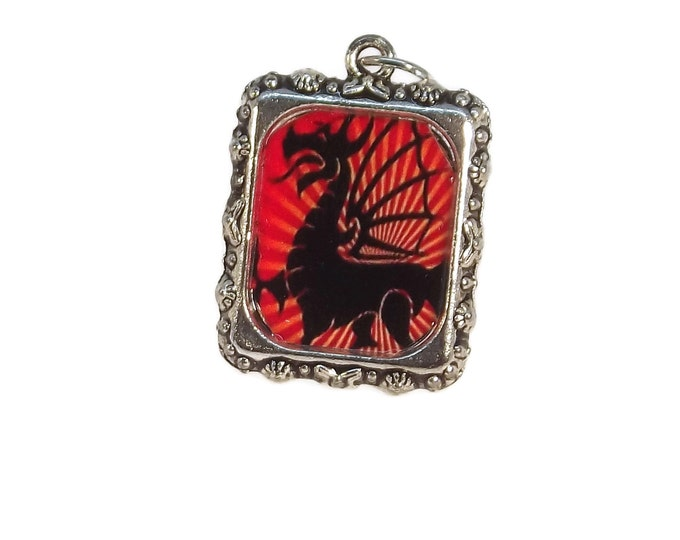 Fire Breathing Dragon Fantasy Pendant, Mythological Creature, Goth, Red & Black, Silver, Square Shaped