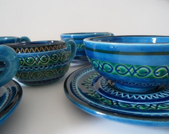Bitossi Aldo Londi ,tea cups/coffee cups with coaster and creamer, 1955-1960,Rimini blue with fishes,very rare pattern,Raymor pattern