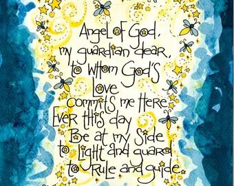Guardian Angel Prayer Art Print Firefly, Lightning Bugs, for Boys, Watercolor, Christian, Catholic gift for baptism, Godparent, boys room