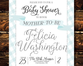 Printable Glitter Gingham Baby Boy Shower Invitation-Print Yourself-Digital Invite