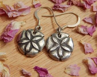 sand dollar dangle earrings in fine silver - pmc fine silver jewelry