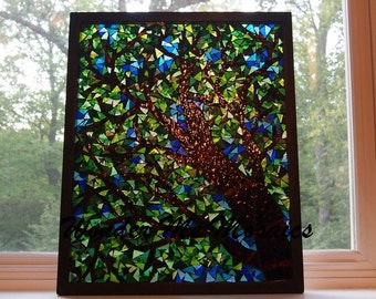 Stained Glass Mosaic on Glass - Nature's Canopy