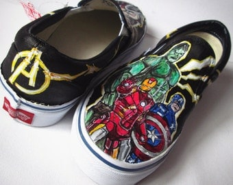 Personalized handpainted shoes, The Avengers shoes, custom sneakers Avengers, Hulk, Iron Man