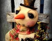 Primitive Folk Art Winter Snowman-Eldridge-Christmas, 22 inch Sitting Snowman, DTHFAAP, Hafair Team