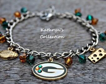 Green Bay Packers Bracelet, Packers Bracelet, Packers Jewelry, Packers Fan Wear, Green and Gold Jewelry, Cheese Head