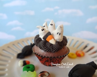 Fake Cupcake Halloween Ghost Family Candy Corn Whipped Cream Meringue Decor Display Fake Food Prop