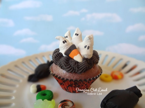 Fake Cupcake Halloween Ghost Family Candy Corn Whipped Cream Meringue Decor Display Fake Food Prop