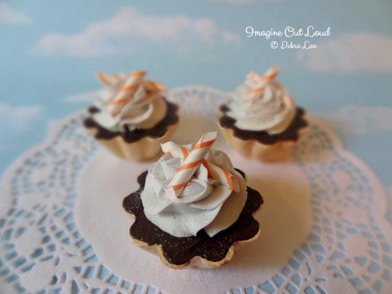Fake Cake Tart Tartelette Mini Dessert Chocolate Orange Cream TRIO