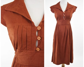 70s Bill Berman Suede Look Dress w Waist Tie // Rust, Burnt Sienna, Orange Brown // Fall Fashion, Boho Chic