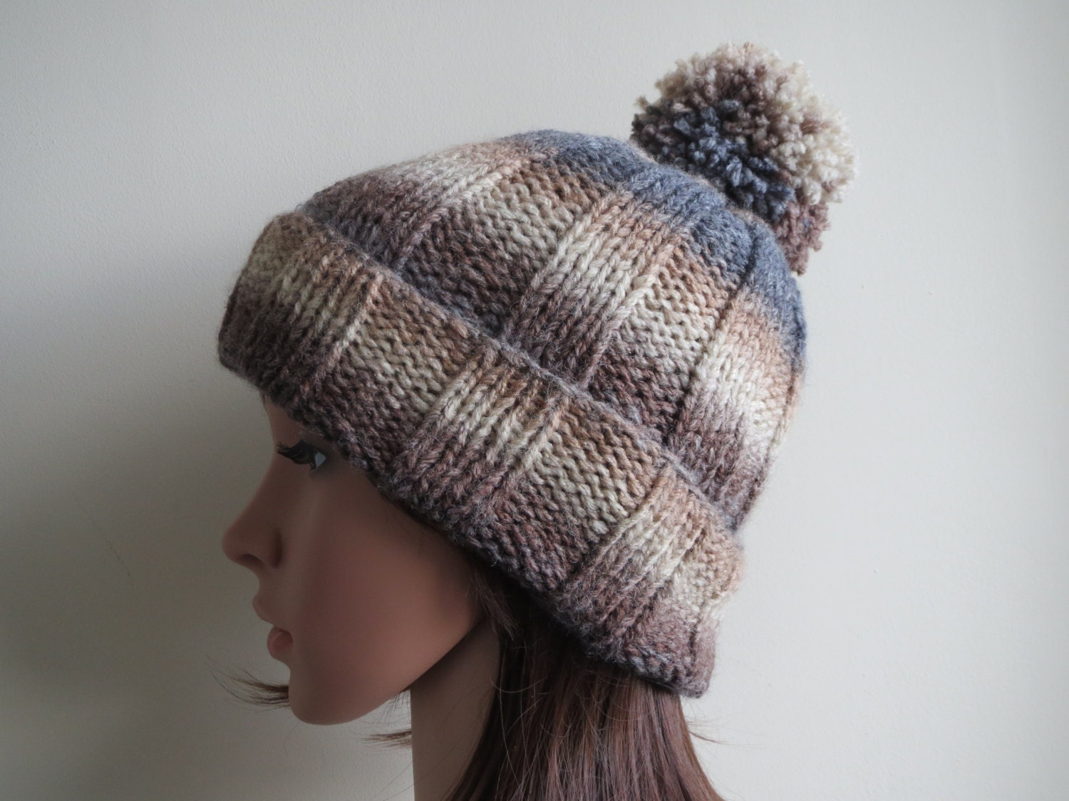 Knitting Pattern Ribbed Bobble Hat : Chunky Knit Bobble Hat. Chunky Ribbed Pom Pom Beanie. Striped
