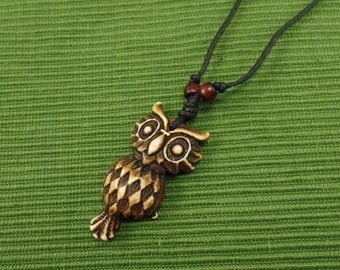 Brown Owl Necklace - Owl Jewelry - Brown Owl Pendant with Adjustable Black Cord
