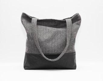 Gray Tote bag, Vegan leather Tote, Gray Handbag, Wool Tote, Tweed Bag, Gray Shoulder Bag, Herringbone Bag, Vegan Leather Bag, Large Tote