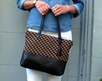 Recycled Leather and Houndstooth Zipper Tote with Tassel