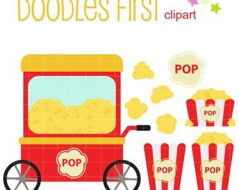 Popcorn Set Digital Clip Art for Scrapbooking Card Making Cupcake Toppers Paper Crafts